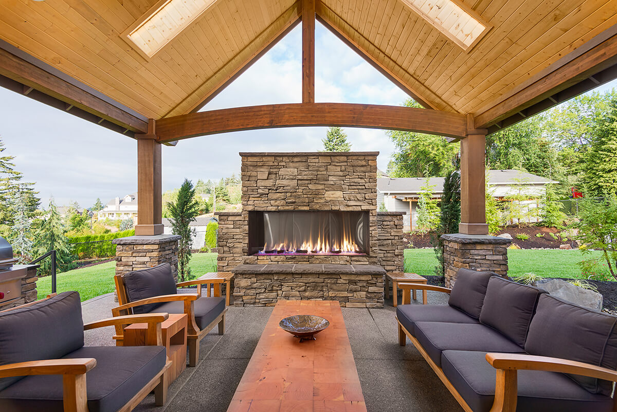 """Flare Vent Free Front Facing 80"""" Outdoor Fireplace with a 24"""" High Opening"""