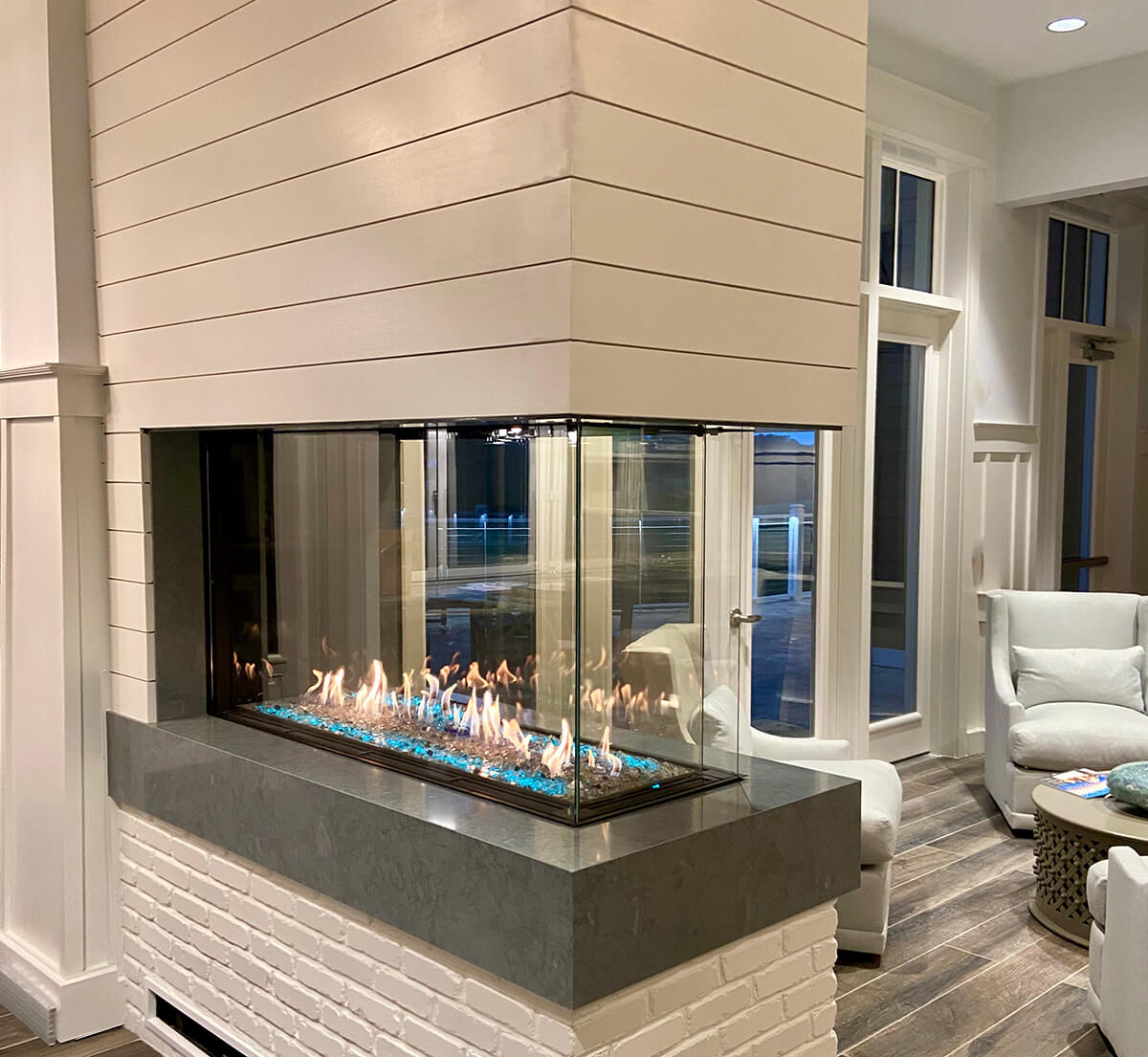 """Flare Room Definer 45"""" Fireplace with a 24"""" High Viewing Window"""