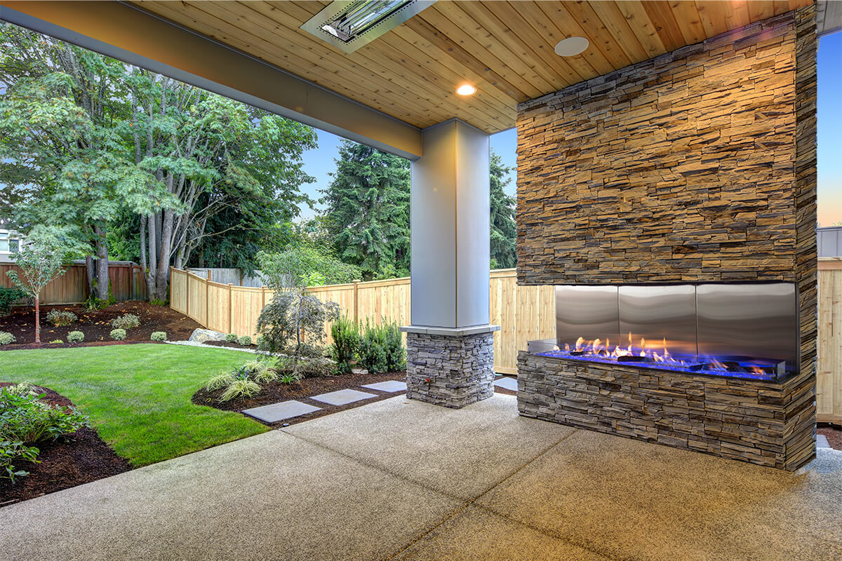 Vent Free Double Corner Modern Outdoor Fireplace Flare